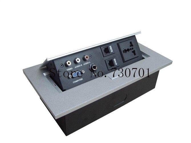 Pas cher haute qualité universel internet table pop up prise audio, vidéo, rj11l, rj45, mic, hdmi, usb, vga, xlr, rca câble bureau prise