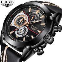 Relogio Masculino LIGE Mens Watches Top Brand Luxury Military Sports Watch Men Leather Multi-FunctionalChronograph Quartz Watch
