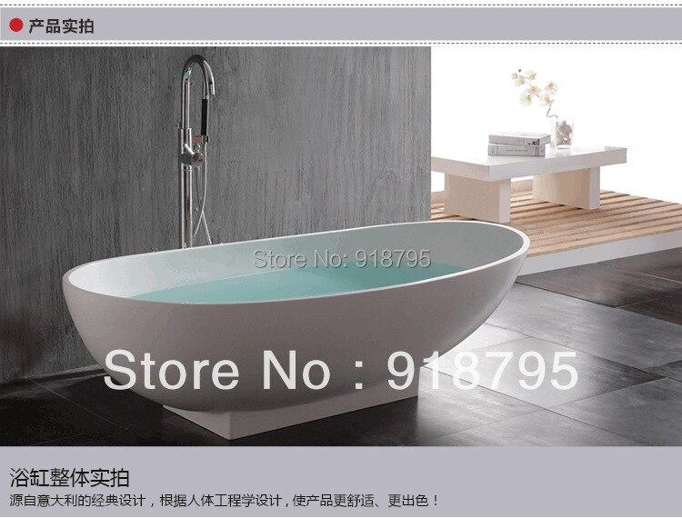 1800x820x540mm Solid Surface Stone CUPC Approval Bathtub Oval Freestanding Corian Matt white Finishing Tub WD6510