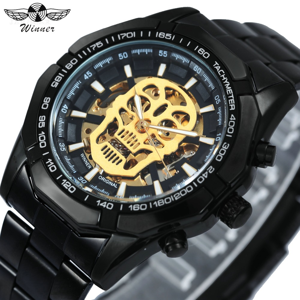 WINNER Cool Black Men Auto Mechanical Wrist Watch Skull Skeleton Dial Steel Watch Band Luminous Hands Top Brand Luxury Clock winner men sports casual auto mechanical wristwatch soft rubber band sub dial auto date skeleton dial design watch gift box