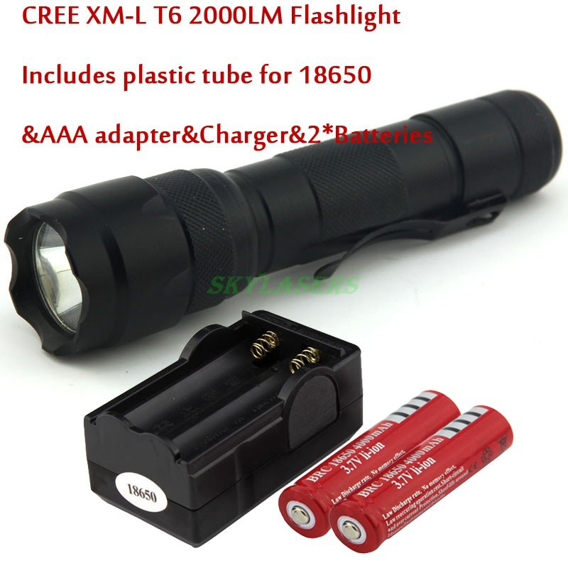 WF-502B CREE XM-L T6 5 Mode 2000LM LED Flashlight With  2 * 4000Mah 18650 Battery and Charger ,Free Shipping new klarus xt11gt cree xhp35 hi d4 led 2000 lm 4 mode tactical led flashlight free usb port and 18650 battey for self defence