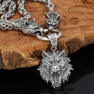 Image 3 - Nórdico viking odin lobo com cabeça de lobo geri e freki colar de aço inoxidável para homem rei corrente com saco de presente valknut