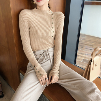New Fashion Button Turtleneck Sweater Women Spring Autumn Solid Knitted Pullover Women Slim Soft Jumper Sweater Female Knit Tops 4