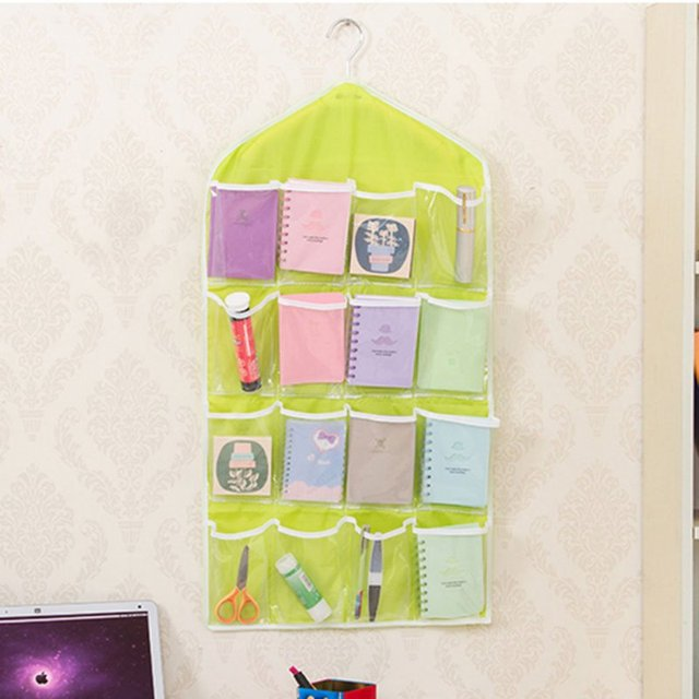16 Pockets Thick Hanging Clear Storage Bags Door Wall Socks Cosmetic Underwear Storage Bag Closet Organizer & 16 Pockets Thick Hanging Clear Storage Bags Door Wall Socks Cosmetic ...