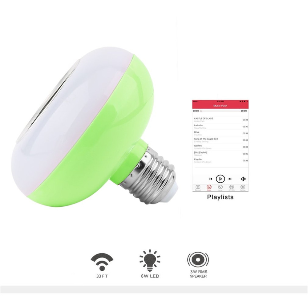E27 3W Wireless Bluetooth LED Bulb Light Music Bulb Stereo Speaker with 24 Keys Remote Control White Blue Green Pink