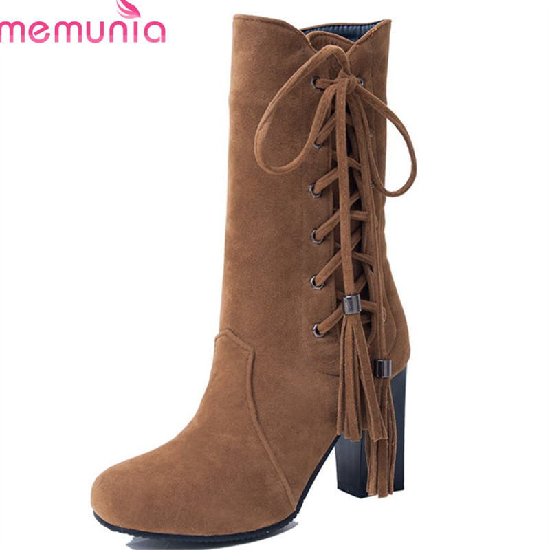 MEMUNIA 2018 big size 33-47 hot sale flock round toe autumn boots fashion lace up mid calf boots square high heels shoes woman hot sale women shoes lace up round toe mid calf boots for women fashion print floral embellished denim shoes retro femme boots