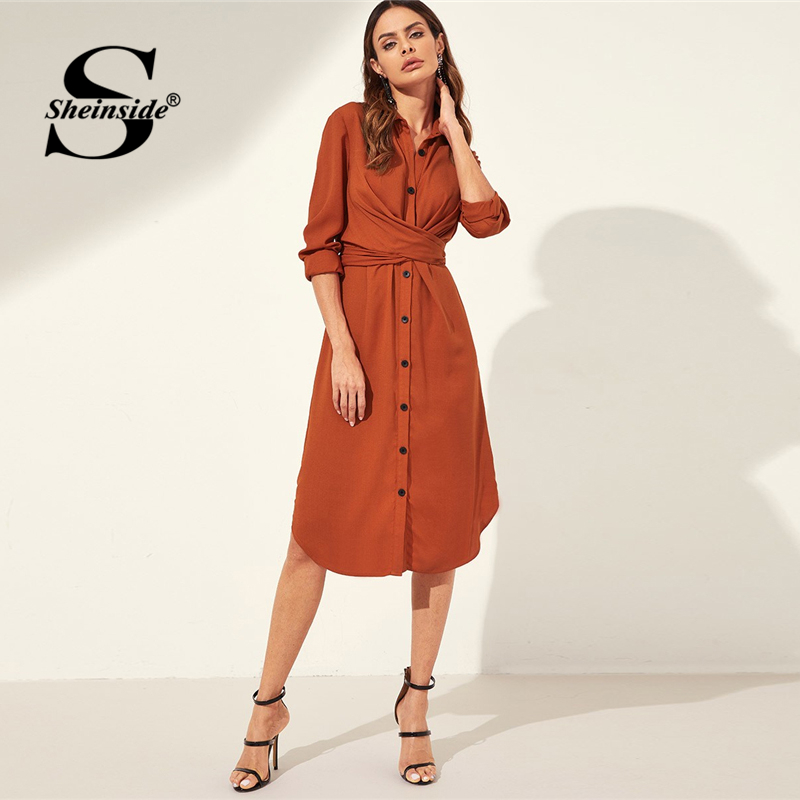Sheinside Orange Knot Back Curved Hem Shirt Dress Women's Sheinside Collection