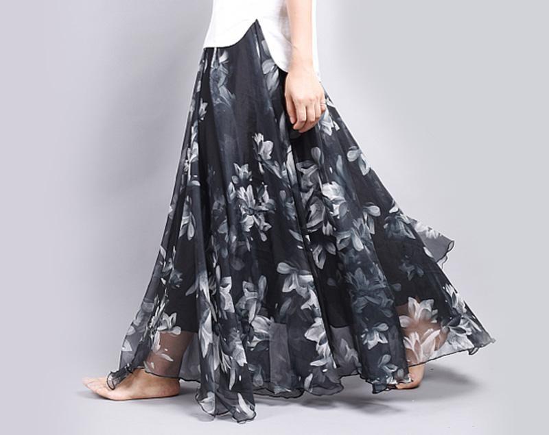 Women Fashion Florals Print Long Skirt Female Boho Style Elastic High Waist Chiffon Casual Beach Skirts Saias 19 Color Summer