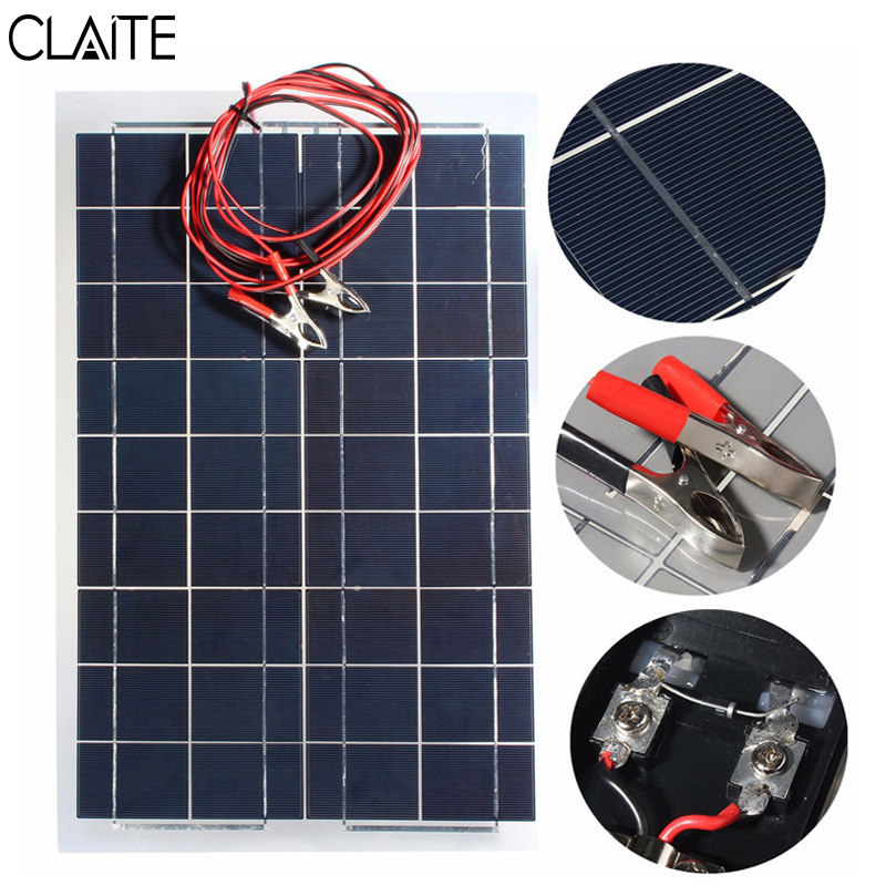CLAITE 12V 30W PolyCrystalline font b Solar b font font b Panel b font With 4m solar panel wiring promotion shop for promotional solar panel,Solar Cell Wiring Photocell To