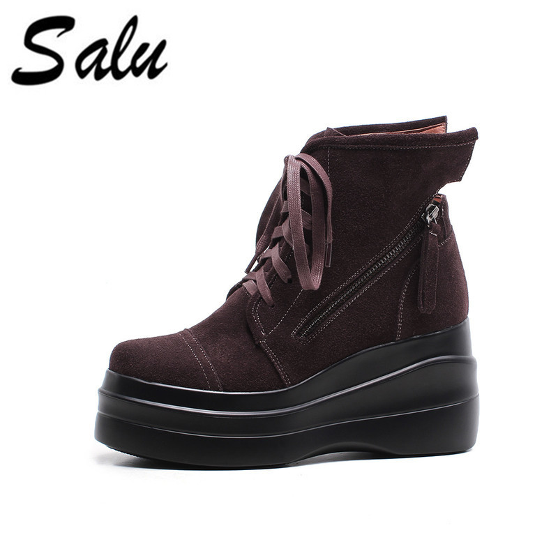 Salu Women Ankle Boots Wedge High Heel round Toe Genuine Leather  Women Motorcycle Boots black brown colorSalu Women Ankle Boots Wedge High Heel round Toe Genuine Leather  Women Motorcycle Boots black brown color