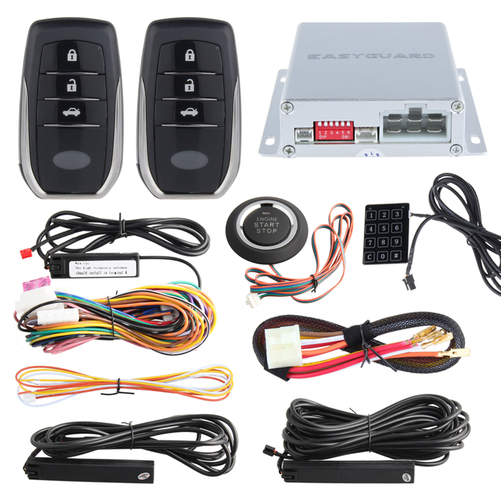 EASYGUARD PKE car alarm system push button start remote engine start stop auto passive keyless entry kit touch password keypad universal pke car security alarm system with remote engine starter start stop push button passive keyless entry starline