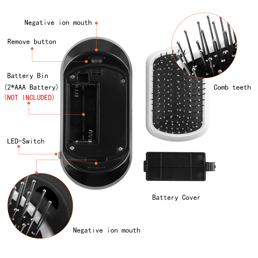 2.0 Ionic Hair Brush Portable Electric Vibrating Scalp Massage Comb Anti-Static Ion Hair Brush With Double Negative Ions Outlet 2