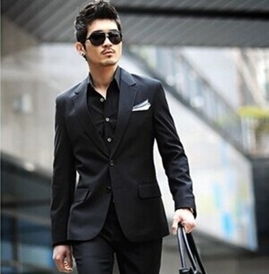 Mens Full Black Suit Dress Yy