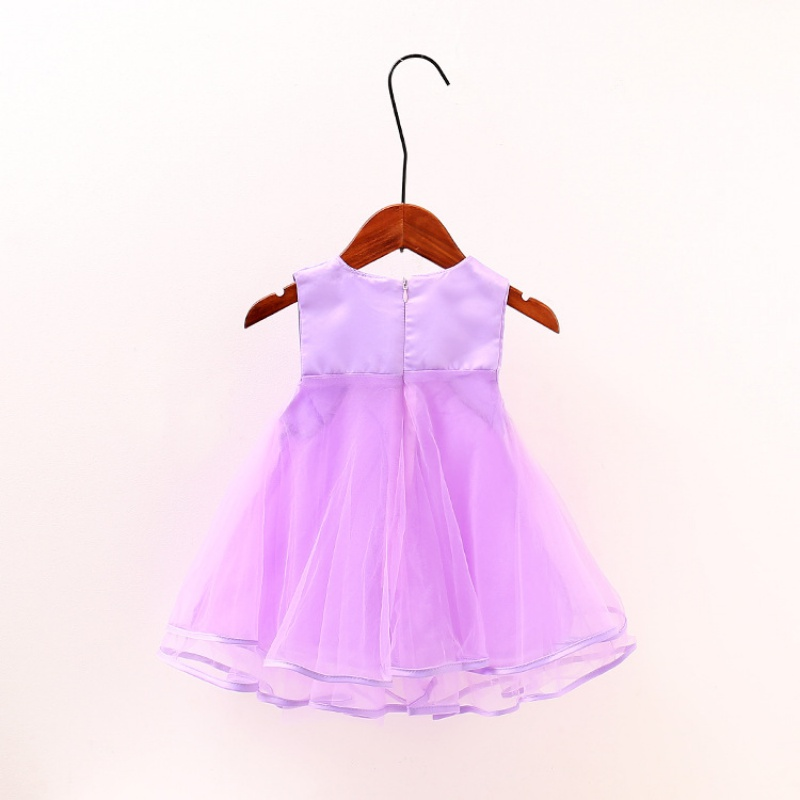 2017 Summer Lovely Girls Lace Dress Kids Pink  Party Dress Children Costume Solid Color Infant Princess Dresses S-XL S2