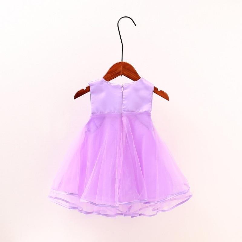 2017 Summer Lovely Girls Lace Dress Kids Pink  Party Dress Children Costume Solid Color Infant Princess Dresses S-XL S2 05 lovely pink