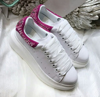 Женская обувь Лидер продаж брендовые белые женская кожаная обувь украшенные кристаллами низкие женские кроссовки на шнуровке женская обув