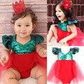 Infantil Do Bebê bonito Da Menina Lantejoulas Sunsuit Romper Jumpsuit Tule Tutu Outfits Traje