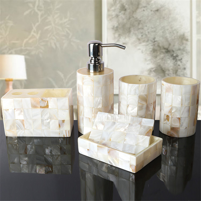 new five piece set shell resin bathroom accessories set luxury bathroom accessories nature set of - Bathroom Accessories Luxury