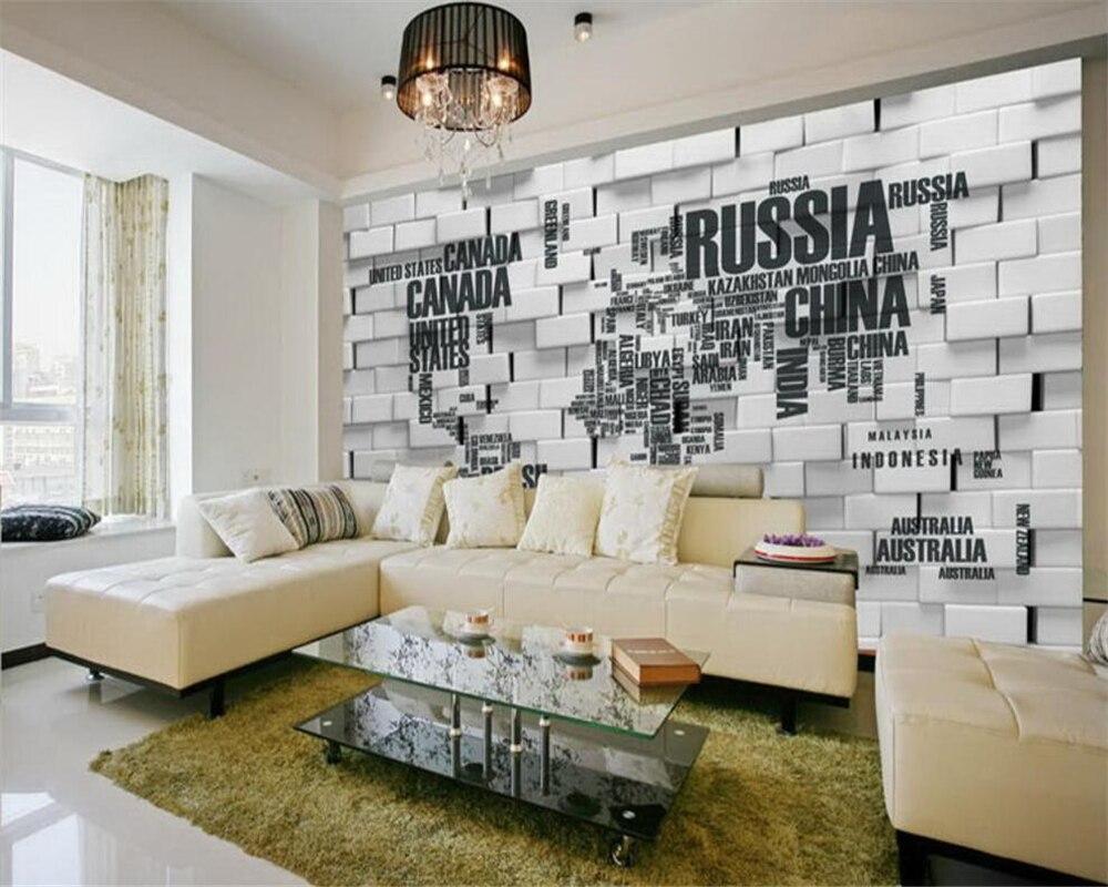 US $8.85 41% di SCONTO|Beibehang Personalizzato Carta Da Parati Soggiorno  camera Da Letto Murale Inglese Lettera Mappa Del Mondo 3D TV Sfondo Parete  ...