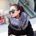 2016 бренд besty новые поступления женская мода Зима толстые теплые природные серебристый мех меха кольца шарф леди мягкий натуральный мех шеи накидки
