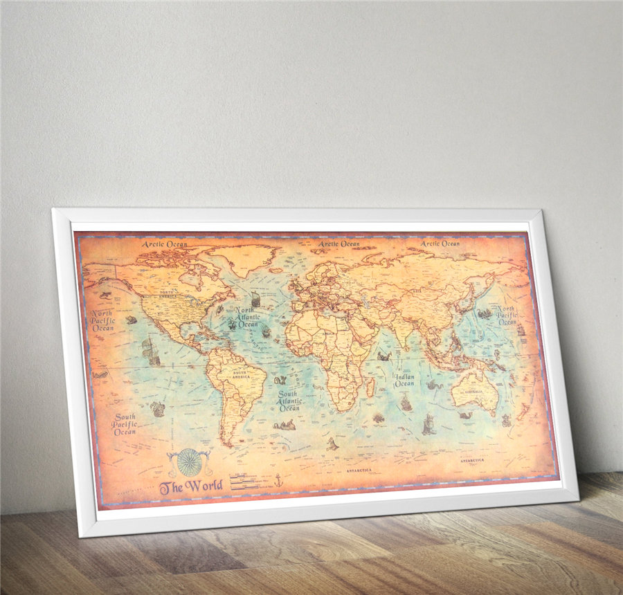Vintage world map ocean sea earth retro print picture oil canvas vintage world map ocean sea earth retro print picture oil canvas or paper painting wall sticker 100x50cm 71x35cm 42x30cm gumiabroncs Images