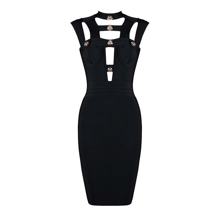 Vestidos <font><b>Sexy</b></font> <font><b>Hollow</b></font> <font><b>Out</b></font> Black <font><b>Bandage</b></font> <font><b>Dress</b></font> Women Designer Button Elegant Party <font><b>Dress</b></font> image