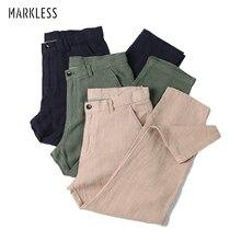 Markless Ramie Pants Men Joggers Summer Ramie Cotton Ankle-Length Trousers Casual Beach Pants pantalon homme DKA6912M