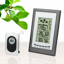 Indoor/Outdoor Nirkabel RF Sensor Digital Thermometer Hygrometer LCD Monitor Suhu Kelembaban Alarm Clock Weather Station(China)