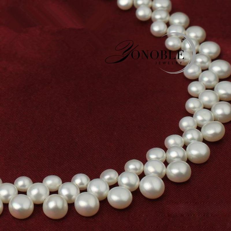 3 rækker naturlige ferskvands choker multi lag perle halskæder - Smykker - Foto 4