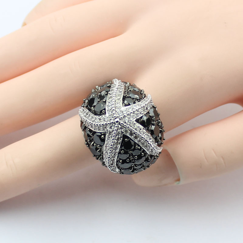 Newest luxury Sea Star Party Ring Silver Plated Big Starfish Rings Prong Setting Black Flat Cubic Zirconia for Girls SUK0023