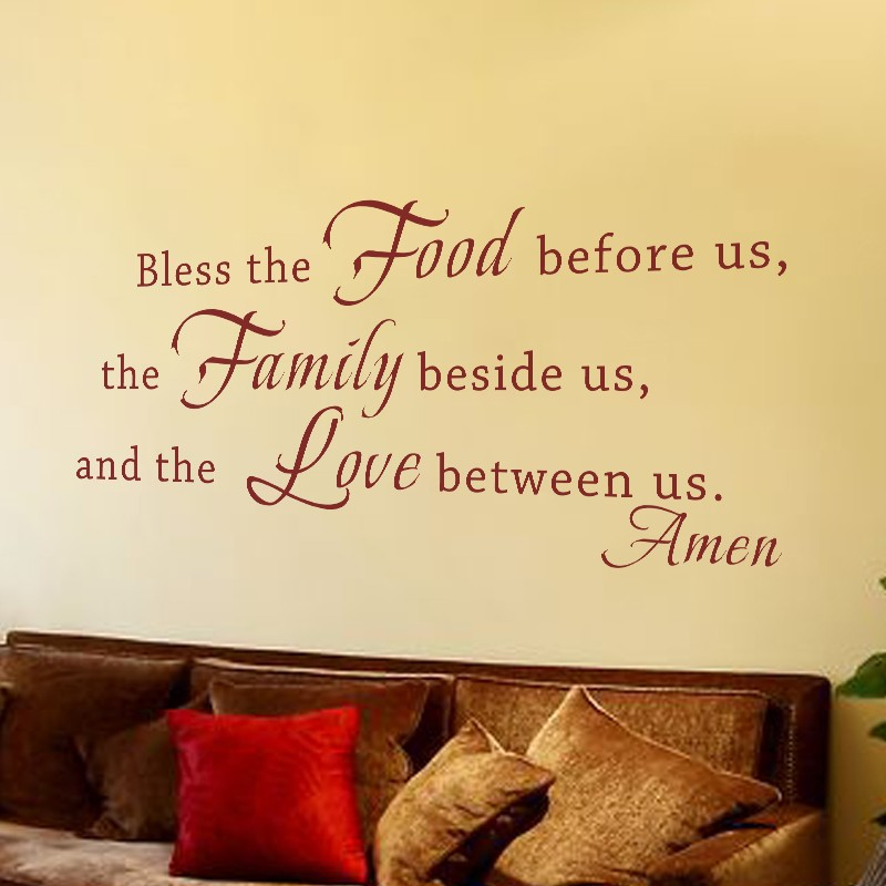 Bless The Food Before Us, The Family Beside Us And The Love Between Us - Family Warming Phrases Vinyl Wall Decal 46 x 21 M ...