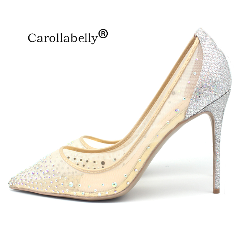 Carollabelly Brand Heels Sheepskin Bling Silver Pumps Pointed Toe Women High Heels Mesh Party Wedding Stiletto Shoes Thin Heels