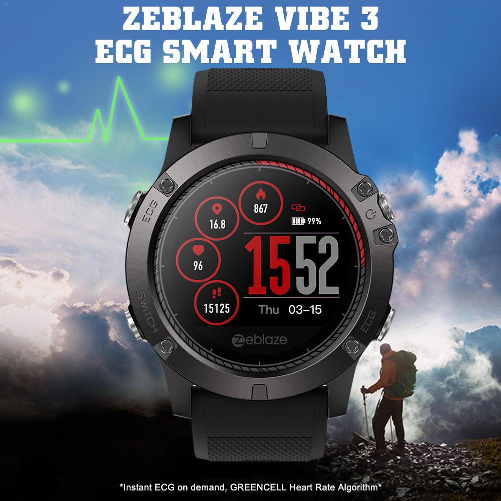 For Zeblaze Vibe 3 ECG Smart Watch IP67 Waterproof GREENCELL Heart Rate Blood Pressure Instant ECG Sport Smart Watch Android IOS