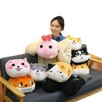 3 In 1 Cartoon Cute Rabbit Handwarmer Stuffed Shiba Dog And Cat Cushion Flannel Blanket School