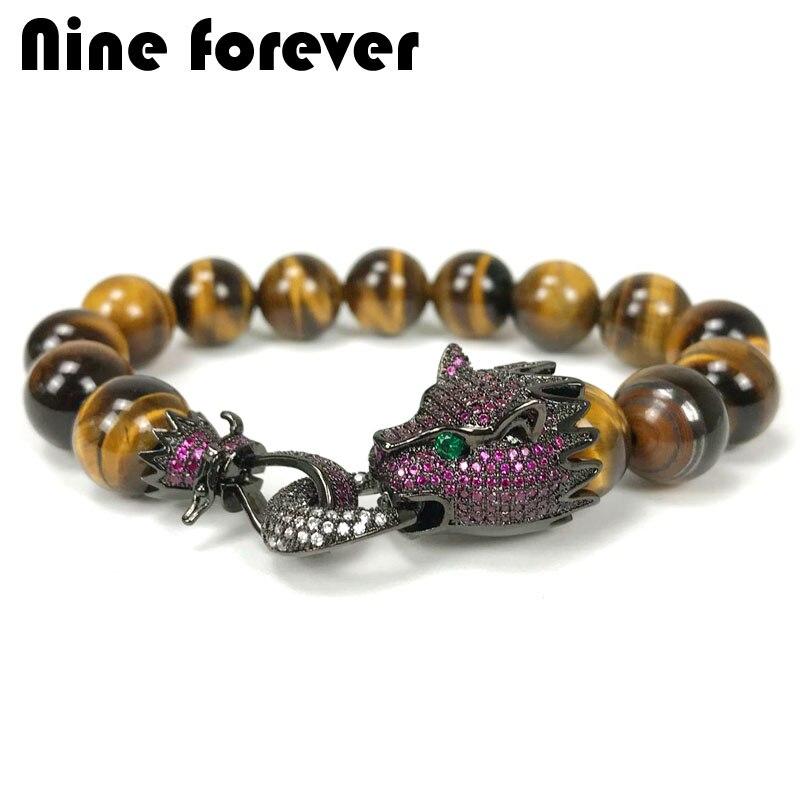 Neun für immer Leopard charme Armband männer schmuck natürliche stein tigerite perlen Armbänder & armreifen pulseira masculina bileklik