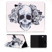 цена на Skull Painted Leather Flip Cover For Samsung Galaxy Tab A 10.1 2016 T585 T580 SM-T580 T580N funda cases Smart Cover shell skin