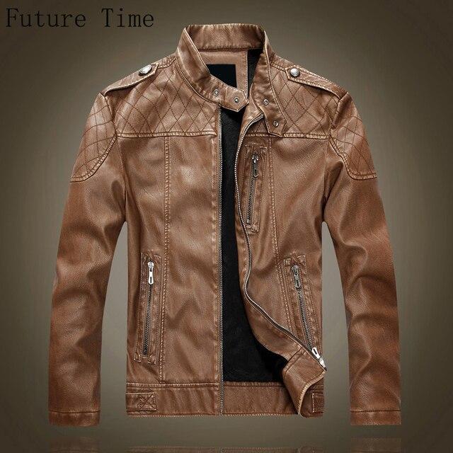 2017new autumn winter men jacket,wind breaker male pu leather jacket motorbike cashmere coat male leather thick jacket C0914