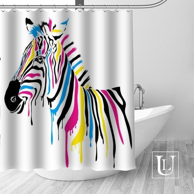 Waterproof Bathroom Curtains Modern Zebra Shower Curtain Polyester Bath Screens Customized