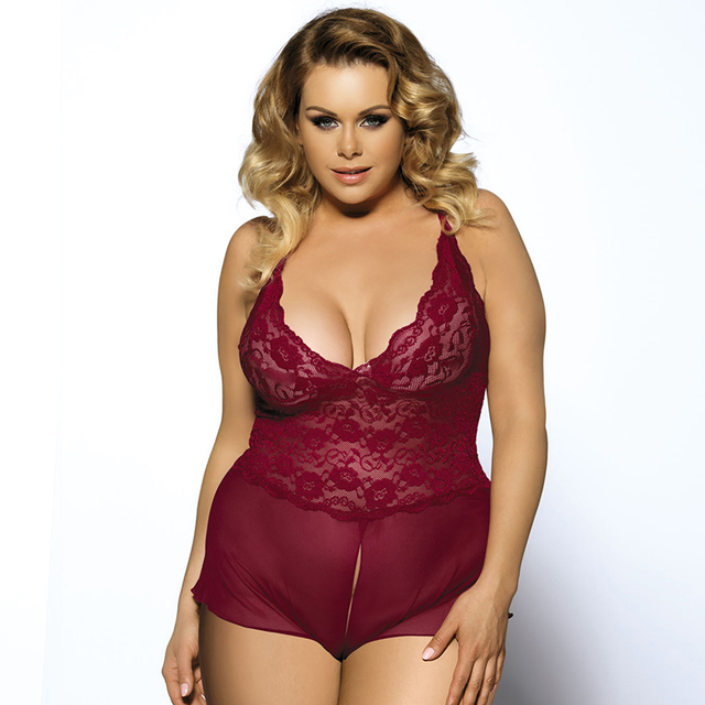 RYC70334P High Quality Open Crotch Hot Plus size Lingerie 5XL Dark Wine Red Erotic lingerie Lace Transparent Teddy sleepwear