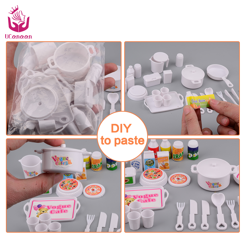 UCanaan-25-pcs-Plastic-Dinner-Set-for-Barbie-Doll-Educational-Classic-Toy-DIY-Children-Kids-Baby-Pretend-Play-Kitchen-Food-Toy-1