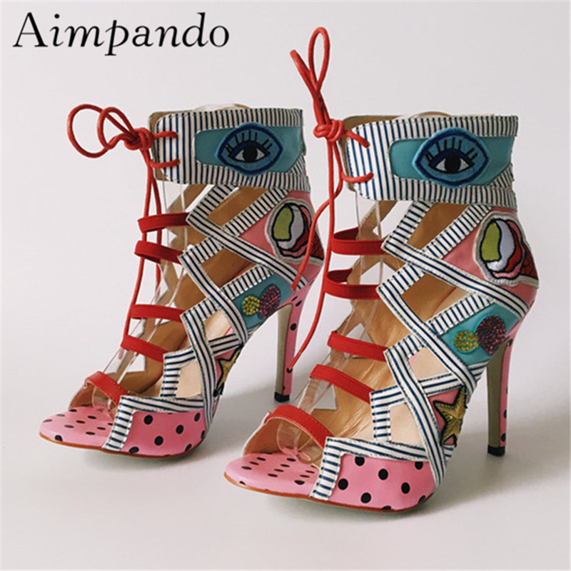 Mixed Color Gladiator Boots Women Thin High Heels Peep Toes Cross-tied Colorful Cut Outs Stage Shoes Catwalk Shoes WomanMixed Color Gladiator Boots Women Thin High Heels Peep Toes Cross-tied Colorful Cut Outs Stage Shoes Catwalk Shoes Woman