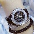 2018, кварцевые часы со звездным светом, Relogio Feminino, роскошное платье, женские часы, белая керамика, бриллиантовые стразы, наручные часы