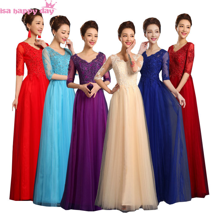 Wedding Party Dress Weddings & Events New Long Women Dark Purple Red Tulle Formal V Neck Sleeve Party Bridesmaid Dresses 2019 Lace Bridesmaids Dress Full Length W3575 Be Novel In Design