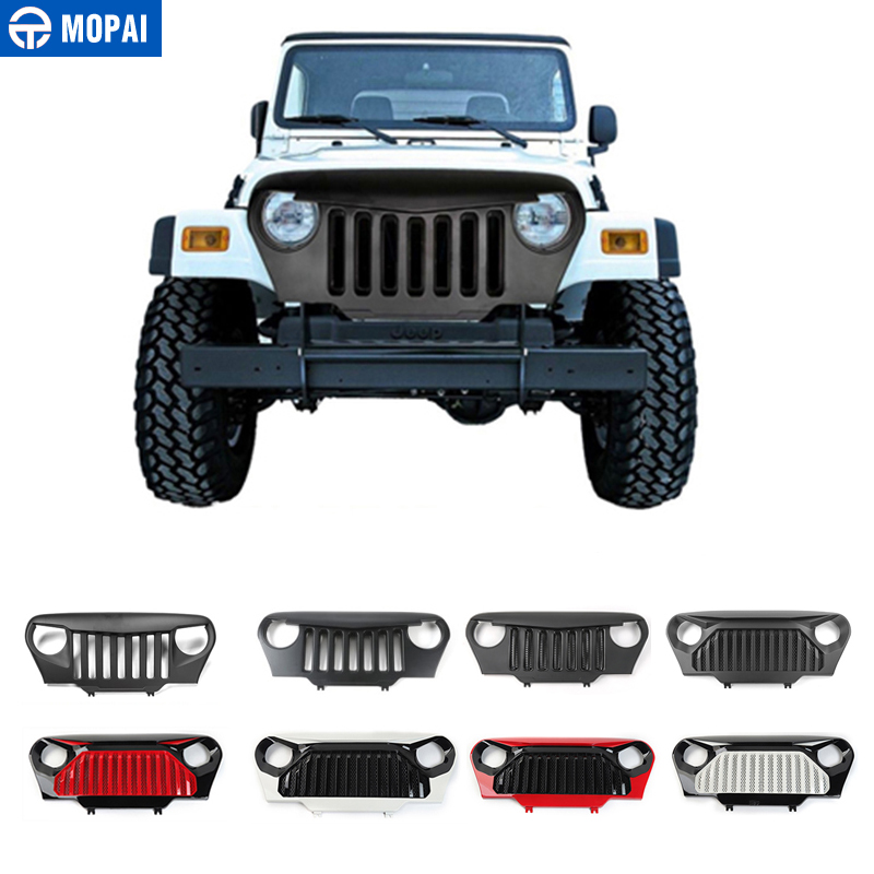 MOPAI Car Racing Grilles for Jeep Wrangler TJ 1997 2006 ABS Mesh Grille Insert Net Cover
