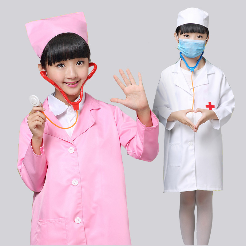 Cosplay Costume Kids Doctor Costume Nurse Uniform With Hat +Mask Children Halloween