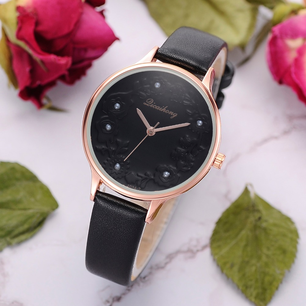 3D Embossed Flowers Watches For Women Pearls Macaron Leather Girls Creative Quartz Clock Ladies Bracelet Wrist Watch