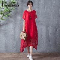 Plus Size S 5XL ZANZEA 2018 Fashion Women Summer Dress Retro Floral Lace Sheer Casual Loose