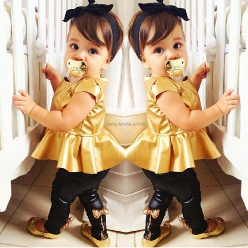 Gold Girls Clothes Sets Baby Girl Clothing T-Shirts Leggings Fashion Children Dress Trousers Suit Summer Black Bebe Roupas