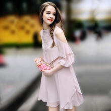 Summer Dress Women The European high-end fashion Hollow off the shoulder Chiffon Dress loose thin pink A-Line dress For Lady