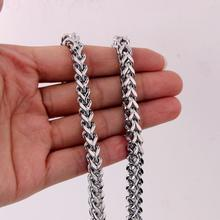 Granny Chic Hip Hop Mens Square Wheat Braided Top Quality Silver Stainless Steel Chain Necklace Not Fade Jewelry 6mm 24